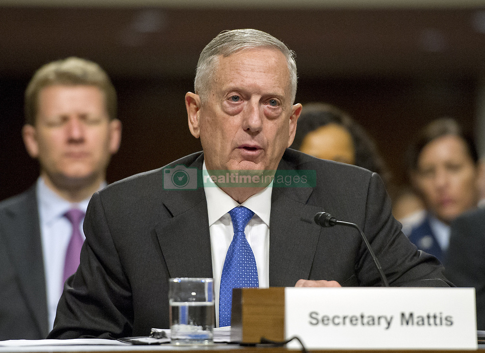 June 13, 2017 - Washington, District of Columbia, United States of America - United States Secretary of Defense James N. Mattis gives testimony before the US Senate Committee on Armed Services on ''the Department of Defense budget posture in review of the Defense Authorization Request for Fiscal Year 2018 and the Future Years Defense Program'' on Capitol Hill in Washington, DC. (Credit Image: © Ron Sachs/CNP via ZUMA Wire)