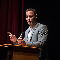 """Travis Holt Hamilton gives a keynote address, Saturday, April 13 at El Morro Theatre before the screening of his film, """"More than Frybread""""  as part of the Authors Festival 2019."""