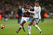Marcos Rojo of Manchester United challenges Michail Antonio of West Ham United. Premier league match, West Ham Utd v Manchester Utd at the London Stadium, Queen Elizabeth Olympic Park in London on Monday 2nd January 2017.<br /> pic by John Patrick Fletcher, Andrew Orchard sports photography.