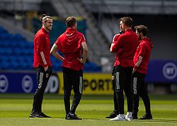 CARDIFF, WALES - Saturday, June 5, 2021: Wales' captain Gareth Bale (L) on the pitch before an International Friendly between Wales and Albania at the Cardiff City Stadium in their game before the UEFA Euro 2020 tournament. (Pic by David Rawcliffe/Propaganda)