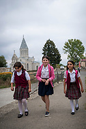 Armenian girls walk home from school in the center of Shushi (Shusha), in the disputed region of Nagorno-Karabakh.<br /><br />(September 23, 2016)