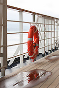 Lifebouy on a deck of a cruise ship