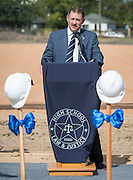 Houston Council member Mike Knox comments during a groundbreaking ceremony for the new High School for Law and Justice, October 6, 2016.