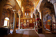Interior of the Byzantine Orthodox monastery of Pantanassa , showing Byzantine frescos & Icons,  Mystras ,  Sparta, the Peloponnese, Greece. A UNESCO World Heritage Site .<br /> <br /> Visit our GREEK HISTORIC PLACES PHOTO COLLECTIONS for more photos to download or buy as wall art prints https://funkystock.photoshelter.com/gallery-collection/Pictures-Images-of-Greece-Photos-of-Greek-Historic-Landmark-Sites/C0000w6e8OkknEb8 <br /> .<br /> <br /> Visit our BYZANTINE ART PHOTO COLLECTION for more   photos  to download or buy as prints https://funkystock.photoshelter.com/gallery-collection/Roman-Byzantine-Art-Artefacts-Antiquities-Historic-Sites-Pictures-Images-of/C0000lW_87AclrOk