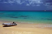 sailboat tender on beach,<br /> Matthew Town, Great Inagua, <br /> Bahamas ( Western Atlantic Ocean )