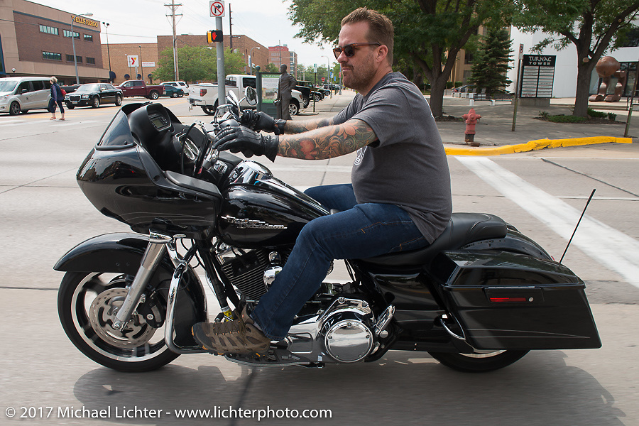 Bobby Seeger on Aidan's Ride to raise money for the Aiden Jack Seeger nonprofit foundation to help raise awareness and find a cure for ALD (Adrenoleukodystrophy) during the annual Sturgis Black Hills Motorcycle Rally. Rapid City, SD, USA. Tuesday August 8, 2017. Photography ©2017 Michael Lichter.