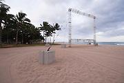 Waikiki movie screen shell on an empty beach.