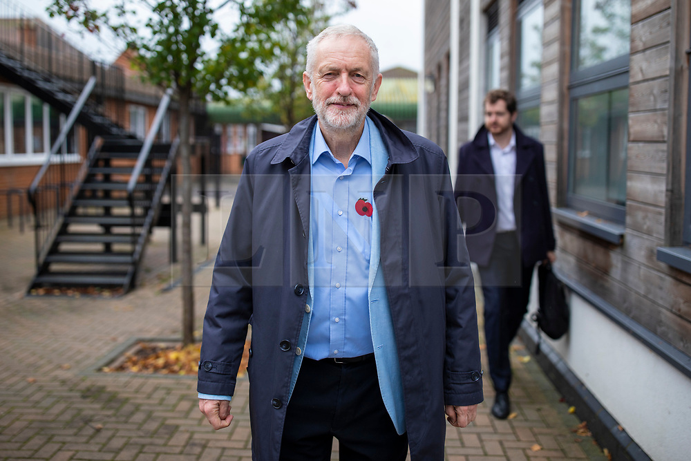© Licensed to London News Pictures. 02/11/2019. Swindon, UK. Labour Party Leader Jeremy Corbyn leaves Commonweal Sixth Form College in Swindon after a campaign rally ahead of the general election on 12 December. Photo credit: Rob Pinney/LNP