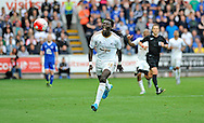 Bafetimbi Gomis of Swansea City shows his frustration in the second half shortly before going off.<br /> Barclays Premier League match, Swansea city v Everton at the Liberty Stadium in Swansea, South Wales on Saturday 19th September 2015.<br /> pic by Phil Rees, Andrew Orchard sports photography.