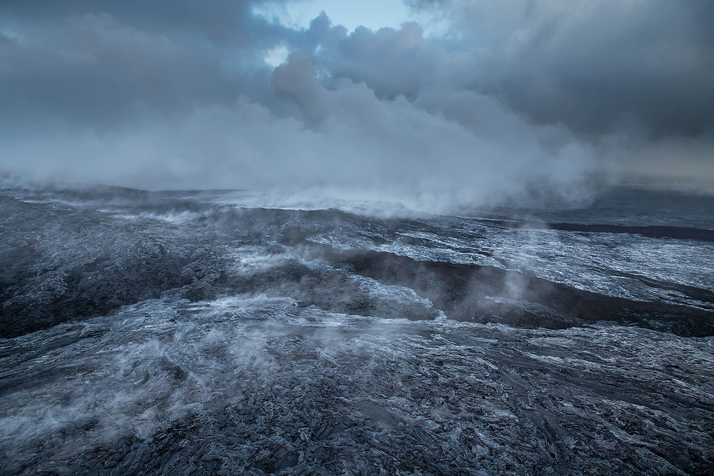 STEAM RISING OVER THE KUPAIANAHA LAVA SHIELD (AERIAL VIEW), HAWAII VOLCANOES NATIONAL PARK, HAWAII