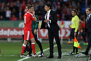 Chris Coleman, the Wales manager ® looks on as he replaces Andy King of Wales in the 2nd half.  Wales v Georgia , FIFA World Cup qualifier, European group D match at the Cardiff city Stadium in Cardiff on Sunday 9th October 2016. pic by Andrew Orchard, Andrew Orchard sports photography