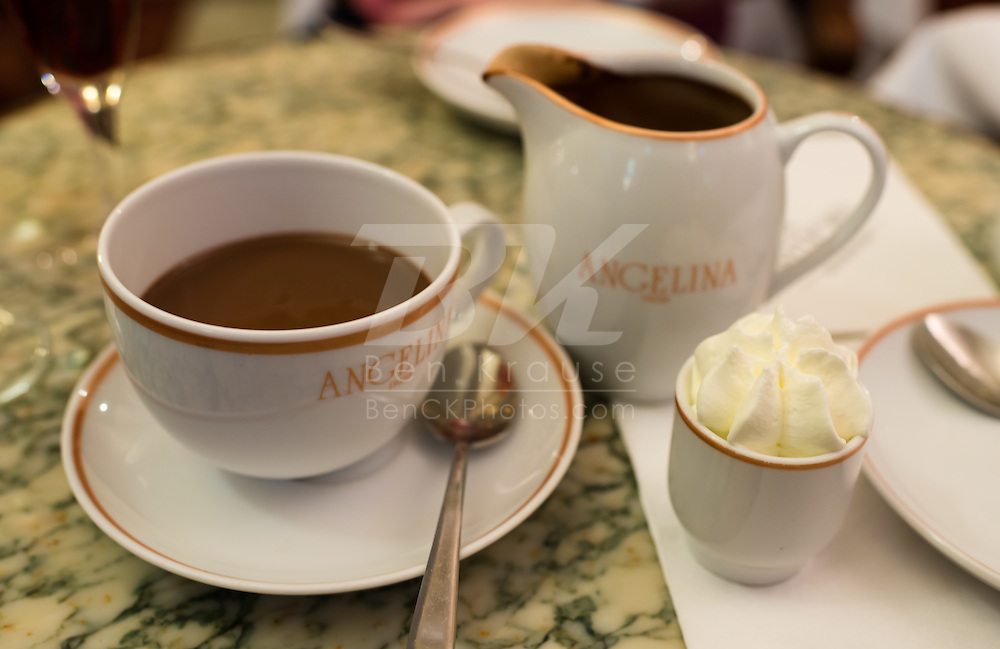 This is the famous Chocolate Mont-Blanc at Angelina in Paris.  The hot chocolate tastes like a liquified brownie.  It was probably 80 degrees in the place, but I still had to try the hot chocolate.
