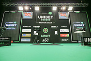 The main stage during the Unibet Premier League darts at Motorpoint Arena, Cardiff, Wales on 20 February 2020.
