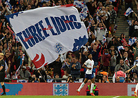 Football - 2018 / 2019 UEFA Nations League A - Group Four: England vs. Spain<br /> <br /> Marcus Rashford (England) runs away in celebration under a Three Lions flag at Wembley Stadium.<br /> <br /> COLORSPORT/DANIEL BEARHAM