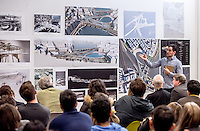 Jack Morton-Gransmore discusses his work at Open Crits, Architecture Year 3 and Year 5 held in Room GO2, Bartlett School of Architecture,140, Hampstead Road by<br /> ©Stonehouse Photographic