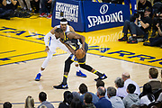 Golden State Warriors forward Kevin Durant (35) handles the ball against the LA Clippers at Oracle Arena in Oakland, California, on February 22, 2018. (Stan Olszewski/Special to S.F. Examiner)