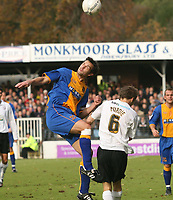 Shrewsbury town v Hereford,Fa cup first round.<br />11-11-2006.<br />Michael Symes(L)for Shresbury town,Rob Perdie.