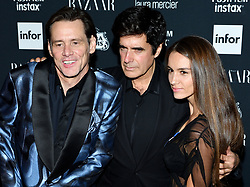 L-R: Actor Jim Carrey, illusionist David Copperfield, Chloe Gosselin attend the Harper's Bazaar Icons by Carine Roitfeld celebration at The Plaza Hotel in New York, NY on September 8, 2017.  (Photo by Stephen Smith/SIPA USA)