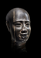 Ancient Egyptian statue bust of a male, graanodiorite, Late Period, (722-322 BC). Egyptian Museum, Turin. Grey background.  black background. Drovetti collection. Cat 3139 .<br /> <br /> If you prefer to buy from our ALAMY PHOTO LIBRARY  Collection visit : https://www.alamy.com/portfolio/paul-williams-funkystock/ancient-egyptian-art-artefacts.html  . Type -   Turin   - into the LOWER SEARCH WITHIN GALLERY box. Refine search by adding background colour, subject etc<br /> <br /> Visit our ANCIENT WORLD PHOTO COLLECTIONS for more photos to download or buy as wall art prints https://funkystock.photoshelter.com/gallery-collection/Ancient-World-Art-Antiquities-Historic-Sites-Pictures-Images-of/C00006u26yqSkDOM