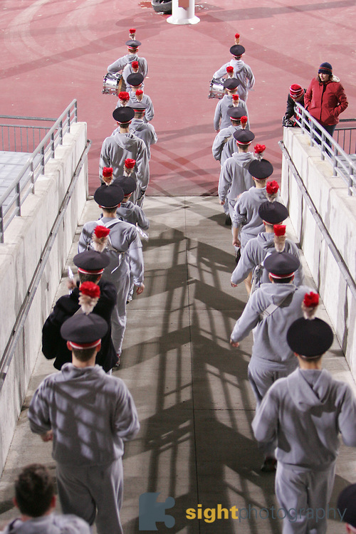 """COLUMBUS, OH - November 17, 2006: The Ohio State University Marching Band, Michigan Week. Band members practice the """"Ramp"""" pre-game entrance. Credit: Bryan Rinnert"""