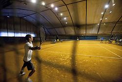 Janez Semrajc during practice session before Davis Cup between National team of Slovenia and JAR on September 9, 2013 in Sports center Dolgi most, Ljubljana, Slovenia. (Photo By Urban Urbanc / Sportida)