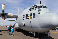 New Windsor, New York - People look at a C-130J Hercules on display at the New York Air Show at Stewart International Airport on Aug. 30, 2015. ©Tom Bushey / The Image Works