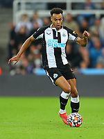 NEWCASTLE UPON TYNE, ENGLAND - SEPTEMBER 17: Jacob Murphy of Newcastle United brings the ball forward during the Premier League match between Newcastle United and Leeds United at St. James Park on September 17, 2021 in Newcastle upon Tyne, England. (Photo by MB Media)