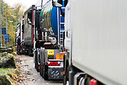 Trucks queued in a service station lay-by, between London and Dover. Estimates project lorry queues and tail-backs of up to 20 miles in busy periods. the government has already invested in buying hundreds of 'porta-loos', portable chemical toilets, to place along the kerbside of major A roads and motorways leading to the ports, so that drivers can relieve themselves en route