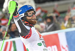 """29.01.2019, Planai, Schladming, AUT, FIS Weltcup Ski Alpin, Slalom, Herren, 2. Lauf, im Bild Marco Schwarz (AUT) // reacts after his 2nd run of men's Slalom """"the Nightrace"""" of FIS ski alpine world cup at the Planai in Schladming, Austria on 2019/01/29. EXPA Pictures © 2019, PhotoCredit: EXPA/ Erich Spiess"""