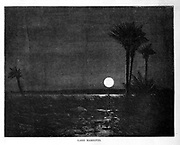 wood engraving of Lake Mareotis [Mariout] in Moonlight From the book 'Picturesque Palestine, Sinai and Egypt : social life in Egypt; a description of the country and its people' with illustrations on Steel and Wood by Wilson, Charles William, Sir, 1836-1905; Lane-Poole, Stanley, 1854-1931. Published by J.S. Virtue in London in 1884
