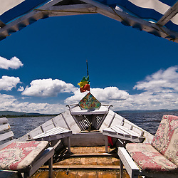 A beautiful blue sky seen from a tour boat in Lake Awasa, Ethiopia.