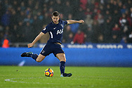 Eric Dier of Tottenham Hotspur in action. Premier league match, Swansea city v Tottenham Hotspur at the Liberty Stadium in Swansea, South Wales on Tuesday 2nd January 2018. <br /> pic by  Andrew Orchard, Andrew Orchard sports photography.