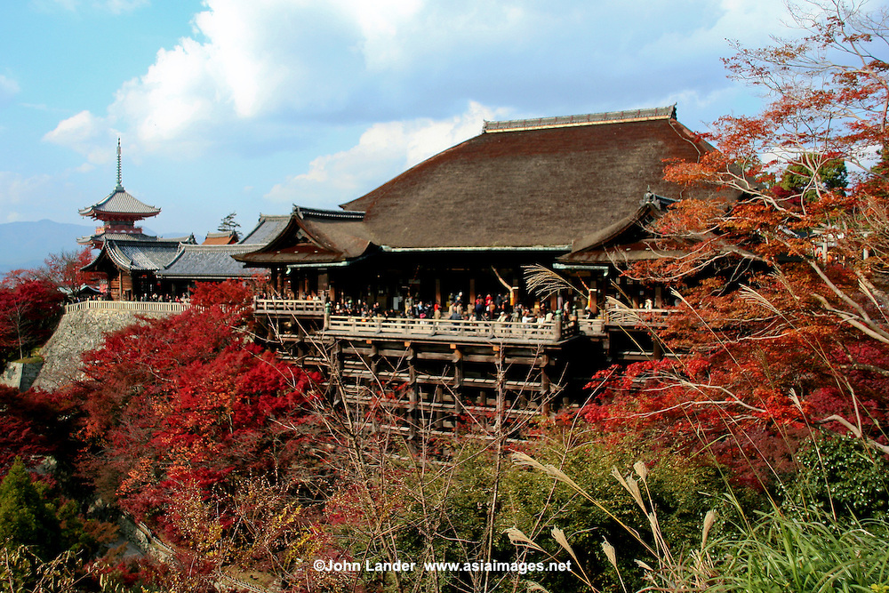 Kiyomizu Dera Temple  - Kiyomizu-dera is a Buddhist temple in eastern Kyoto. The temple is a UNESCO World Heritage site.  Not one nail is used in building the entire temple.  It takes its name from the waterfall within the complex grounds. In Japanese Kiyomizu means clear water or pure water.