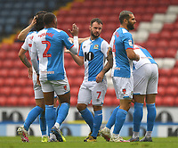Blackburn Rovers' Adam Armstrong is congratulated on scoring his sides's 2nd goal<br /> <br /> Photographer Dave Howarth/CameraSport<br /> <br /> The EFL Sky Bet Championship - Blackburn Rovers v Reading - Saturday 18th July 2020 - Ewood Park - Blackburn<br /> <br /> World Copyright © 2020 CameraSport. All rights reserved. 43 Linden Ave. Countesthorpe. Leicester. England. LE8 5PG - Tel: +44 (0) 116 277 4147 - admin@camerasport.com - www.camerasport.com