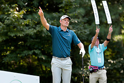 September 2, 2018 - Norton, MA, U.S. - NORTON, MA - SEPTEMBER 02: Justin Rose of England lets the crowd know his tee shot is going right during the Third Round of the Dell Technologies Championship on September 2, 2018, at TPC Boston in Norton, Massachusetts. (Photo by Fred Kfoury III/Icon Sportswire) (Credit Image: © Fred Kfoury Iii/Icon SMI via ZUMA Press)