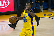 Golden State Warriors forward Draymond Green (23) directs traffic against the Minnesota Timberwolves at Oracle Arena in Oakland, Calif., on January 25, 2018. (Stan Olszewski/Special to S.F. Examiner)