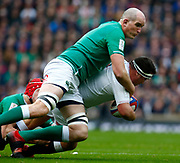 L-R Iain Henderson of Ireland  tackles Jamie George of England      during the Guinness Six Nations between England and Ireland at Twickenham  Stadium, Sunday, Feb. 23, 2020, in London, United Kingdom. (ESPA-Images/Image of Sport)