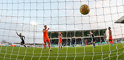 Falkirk's Reghan Tumility celebrates after scoring their second goal. Falkirk 6 v 1 Dundee United, Scottish Championship game played 6/1/2018 played at The Falkirk Stadium.