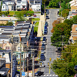 Reading, PA, USA - September 19, 2020: A distant view of residential houses in Reading, Berks County, PA.