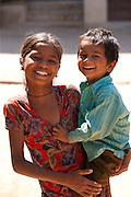 Happy Indian children in typical Rajasthani village of Nimaj, Rajasthan, Northern India