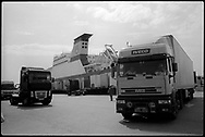 Unloading the Turkish freighter, the RORO UND Ege, in Trieste, Italy. The ship is a freighter that sails between Istanbul and Trieste.