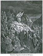 Mattathias Appeals to the Jewish Refugees [I Maccabees 2:50 ] From the book 'Bible Gallery' Illustrated by Gustave Dore with Memoir of Dore and Descriptive Letter-press by Talbot W. Chambers D.D. Published by Cassell & Company Limited in London and simultaneously by Mame in Tours, France in 1866