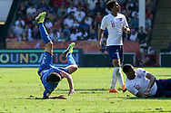 Giorgio Brogni of Italy (3) takes a tumble during the UEFA European Under 17 Championship 2018 match between England and Italy at the Banks's Stadium, Walsall, England on 7 May 2018. Picture by Mick Haynes.
