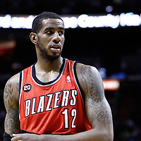 08 March 2011: Portland Trail Blazers power forward LaMarcus Aldridge (12) is seen during the Portland Trail Blazers 105-96 victory over the Miami Heat at the AmericanAirlines Arena, Miami, Florida, USA.