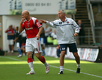Photo: Tony Oudot.<br /> Charlton Athletic v Leicester City. Coca Cola Championship. 22/09/2007.<br /> Charltons Danny Mills is encouraged by manager Alan Pardew