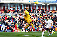 Everton Goalkeeper Tim Howard watches the ball fly wide. Barclays Premier league match, Burnley v Everton at Turf Moor in Burnley, Lancs on Sunday 26th October 2014.<br /> pic by Chris Stading, Andrew Orchard sports photography.