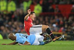 10 December 2017 -  Premier League - Manchester United v Manchester City - Vincent Kompany of Manchester City  fouls Ander Herrera of Manchester United - Photo: Marc Atkins/Offside