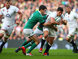 England's Ben Youngs is tackled by Ireland's Jonathan Sexton and Rory Best - Photo mandatory by-line: Ken Sutton/JMP - Mobile: 07966 386802 - 01/03/2015 - SPORT - Rugby - Dublin - Aviva Stadium - Ireland v England - Six Nations