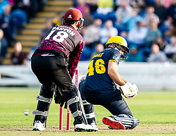 Chris Cooke of Glamorgan is LBW off the bowling of Roelof van der Merwe of Somerset<br /> <br /> Photographer Simon King/Replay Images<br /> <br /> Vitality Blast T20 - Round 1 - Glamorgan v Somerset - Thursday 18th July 2019 - Sophia Gardens - Cardiff<br /> <br /> World Copyright © Replay Images . All rights reserved. info@replayimages.co.uk - http://replayimages.co.uk