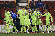 Brighton central defender, Lewis Dunk (5) scores a goal and celebrates to make the score 0-1 during the Sky Bet Championship match between Nottingham Forest and Brighton and Hove Albion at the City Ground, Nottingham, England on 11 April 2016. Photo by Simon Davies.